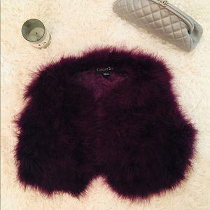 Women's PurpleCropped Feather Jacket